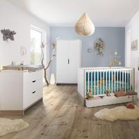 Chambre complète lit évolutif 70x140 - commode à langer - armoire 2 portes Galipette Lilo - Blanc bois