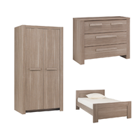 Chambre complète lit junior 120x190 - commode 3 tiroirs - armoire 2 portes Gami Hangun - Bois