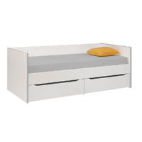 Lit banquette 2 tiroirs 90x200 Gami Babel - Blanc Gris