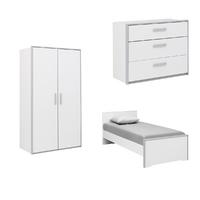 Chambre complète lit junior 90x190 - commode 3 tiroirs - armoire 2 portes Gami Babel - Blanc Gris