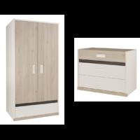 Commode 3 tiroirs et Armoire 2 portes Gami Tiago - Blanc Bois
