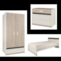 Chambre complète lit junior 120x200 - commode 3 tiroirs - armoire 2 portes Gami Tiago - Blanc Bois