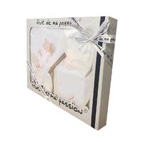 Coffret Sortie de bain blanc et beige - Motif Animaux Ballon