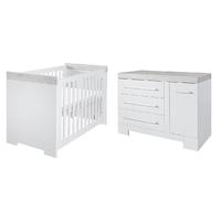 Lit bébé 60x120 et Commode à langer Twf Futura - Blanc Gris