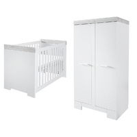 Lit bébé 60x120 et Armoire 2 portes Twf Futura - Blanc Gris