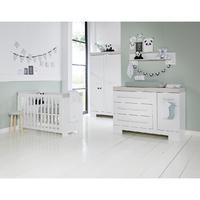 Chambre complète lit bébé 60x120 - commode à langer - armoire 2 portes Twf Futura - Blanc Gris