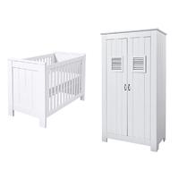 Lit bébé 60x120 et Armoire 2 portes Twf Madeira - Blanc