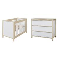Lit bébé 60x120 et Commode à langer Twf Air - Blanc Bois