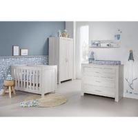 Chambre complète lit bébé 60x120 - commode à langer - armoire 2 portes Twf Oslo - Gris clair