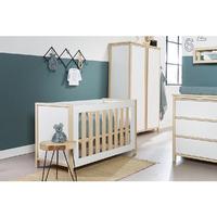 Chambre complète lit bébé 60x120 - commode à langer - armoire 2 portes Twf Air - Blanc Bois