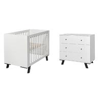 Lit bébé 60x120 et Commode à langer Twf Pure - Blanc