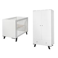 Lit bébé 60x120 et Armoire 2 portes Twf Pure - Blanc