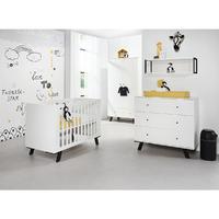 Chambre complète lit bébé 60x120 - commode à langer - armoire 2 portes Twf Pure - Blanc