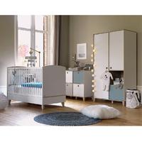 Chambre complète lit évolutif 70x140 - commode 4 niches - armoire 2 portes Galipette Lora - Blanc Gris
