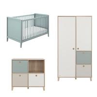 Chambre complète lit évolutif 70x140 - commode 4 niches - armoire 2 portes Galipette Lora - Bleu