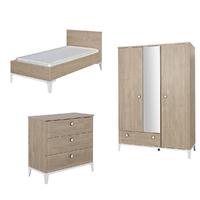Chambre complète lit évolutif 70x140 - commode à langer - armoire 3 portes Galipette Marcel - Bois