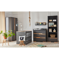 Chambre complète lit bébé 60x120 - commode à langer - armoire 2 portes Pinio Snap - Gris et bois
