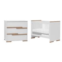 Lit bébé 60x120 et commode à langer Pinio Snap - Blanc et bois
