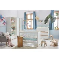 Chambre complète lit bébé 60x120 - commode à langer - armoire 2 portes Pinio Snap - Blanc et bois