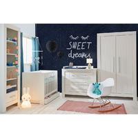 Chambre complète lit bébé 60x120 - commode à langer - armoire 2 portes Pinio Calmo - Blanc
