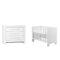 Lit bébé 60x120 et Commode à langer Pinio Calmo - Blanc