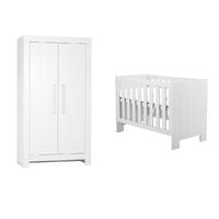 Lit bébé 60x120 et Armoire 2 portes Pinio Calmo - Blanc