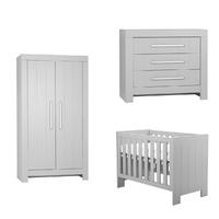 Chambre complète lit bébé 60x120 - commode à langer - armoire 2 portes Pinio Calmo - Gris