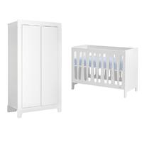 Lit bébé 60x120 et Armoire 2 portes Pinio Moon - Blanc
