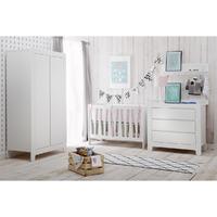 Chambre complète lit bébé 60x120 - commode à langer - armoire 2 portes Pinio Moon - Blanc