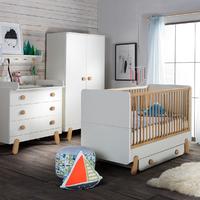 Chambre complète lit bébé 60x120 - commode à langer - armoire 2 portes Pinio Iga - Blanc et bois