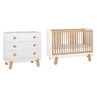 Lit bébé 60x120 et Commode à langer Pinio Iga - Blanc et bois