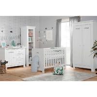 Chambre complète lit bébé 60x120 - commode à langer - armoire 2 portes Pinio Barcelona - Blanc