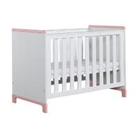 Lit bébé 60x120 Pinio Mini - Blanc et rose