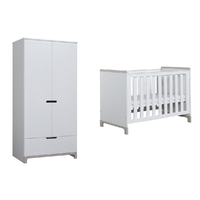 Lit bébé 60x120 et Armoire 2 portes Pinio Mini - Blanc et gris
