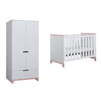 Lit bébé 60x120 et Armoire 2 portes Pinio Mini - Blanc et rose