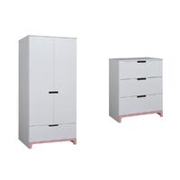 Commode 3 tiroirs et Armoire 2 portes Pinio Mini - Blanc et rose