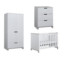 Chambre complète lit bébé 60x120 - commode 3 tiroirs - armoire 2 portes Pinio Mini - Blanc et gris