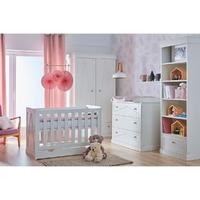 Chambre complète lit bébé 60x120 - commode à langer - armoire 2 portes Pinio Marie - Blanc