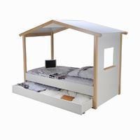 Lit cabane et tiroir 90x190 Weber Industries Castel - Blanc et vernis