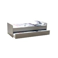 Lit gigogne - 2 sommiers - 1 tiroir-lit 90x190 Weber Industries Florent - Gris