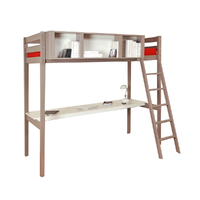 Lit mezzanine 90x190 - rangement - bureau - Weber Industries Lou - Laqué gris taupe