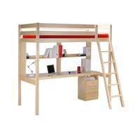 Lit mezzanine 90x190 - caisson - bureau - étagère - Weber Industries Studio - Vernis naturel