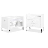 Lit bébé 60x120 et Commode à langer LittleSky by Klups Blanka - Blanc