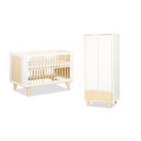 Lit bébé 60x120 et Armoire 2 portes LittleSky by Klups Lydia - Blanc