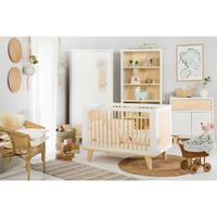 Chambre complète lit bébé 60x120 - commode - armoire 2 portes LittleSky by Klups Lydia - Blanc