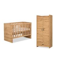 Lit bébé 60x120 et Armoire 2 portes LittleSky by Klups Amelia Oak - Chêne