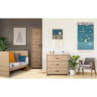 Chambre complète lit bébé 60x120 - commode - armoire 2 portes LittleSky by Klups Amelia Oak - Chêne
