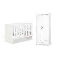 Lit bébé 60x120 et Amoire 2 portes LittleSky by Klups Amelia White - Blanc