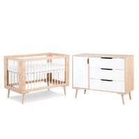 Lit bébé 60x120 et Commode à langer LittleSky by Klups Sofie - Hêtre et Blanc