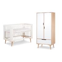 Lit bébé 60x120 et Armoire 2 portes LittleSky by Klups Sofie - Blanc